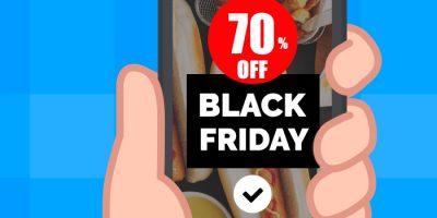 ilustração de uma mão segurando smartphone com uma oferta de 70% na black friday sendo exibida na tela
