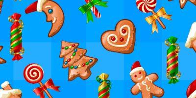 ilustração ceia de natal com bolachas de natal: boneco de gengibre, árvore de natal, pirulito, bengala de natal