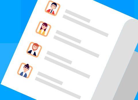 ilustração de uma lista de clientes com fotos e informações básicas de cada consumidor
