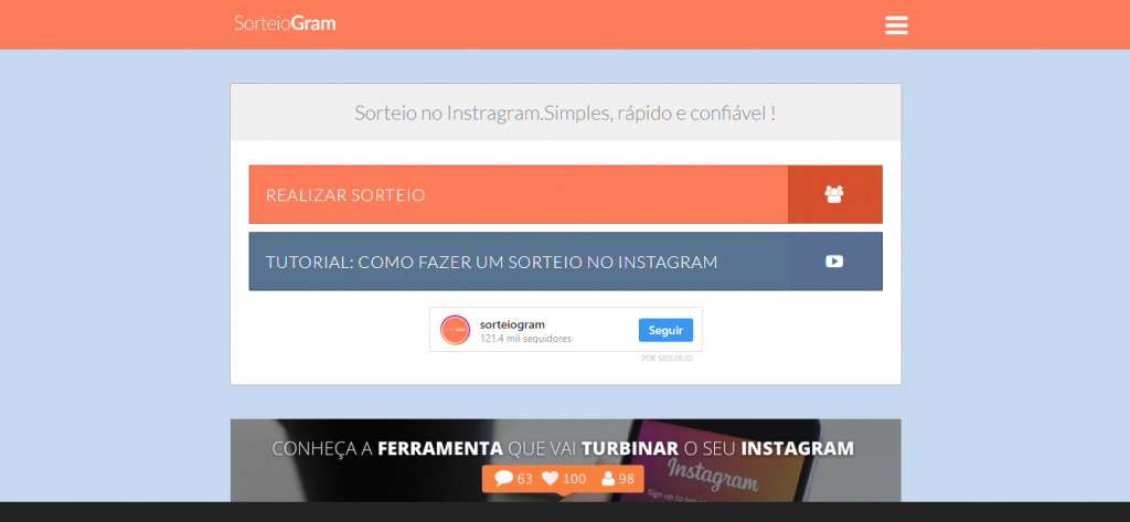 app para sorteios no instagram