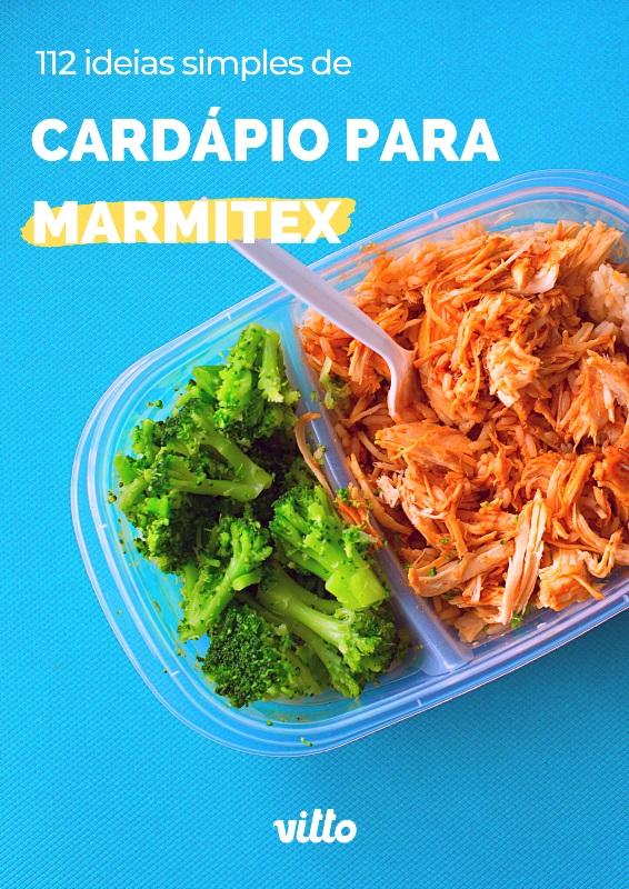 """Marmitex em embalagem para delivery com a chamada """"112 ideias de cardápio para marmitex"""""""